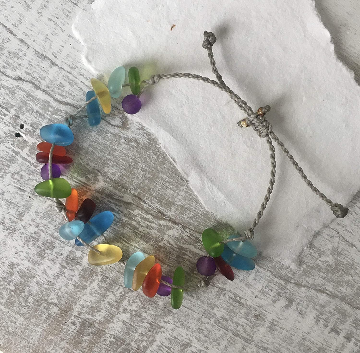 Great Pride Gift Chakra Colors Artisan Made Colorful Sea Glass Bracelet or Anklet in Every Color of the Rainbow