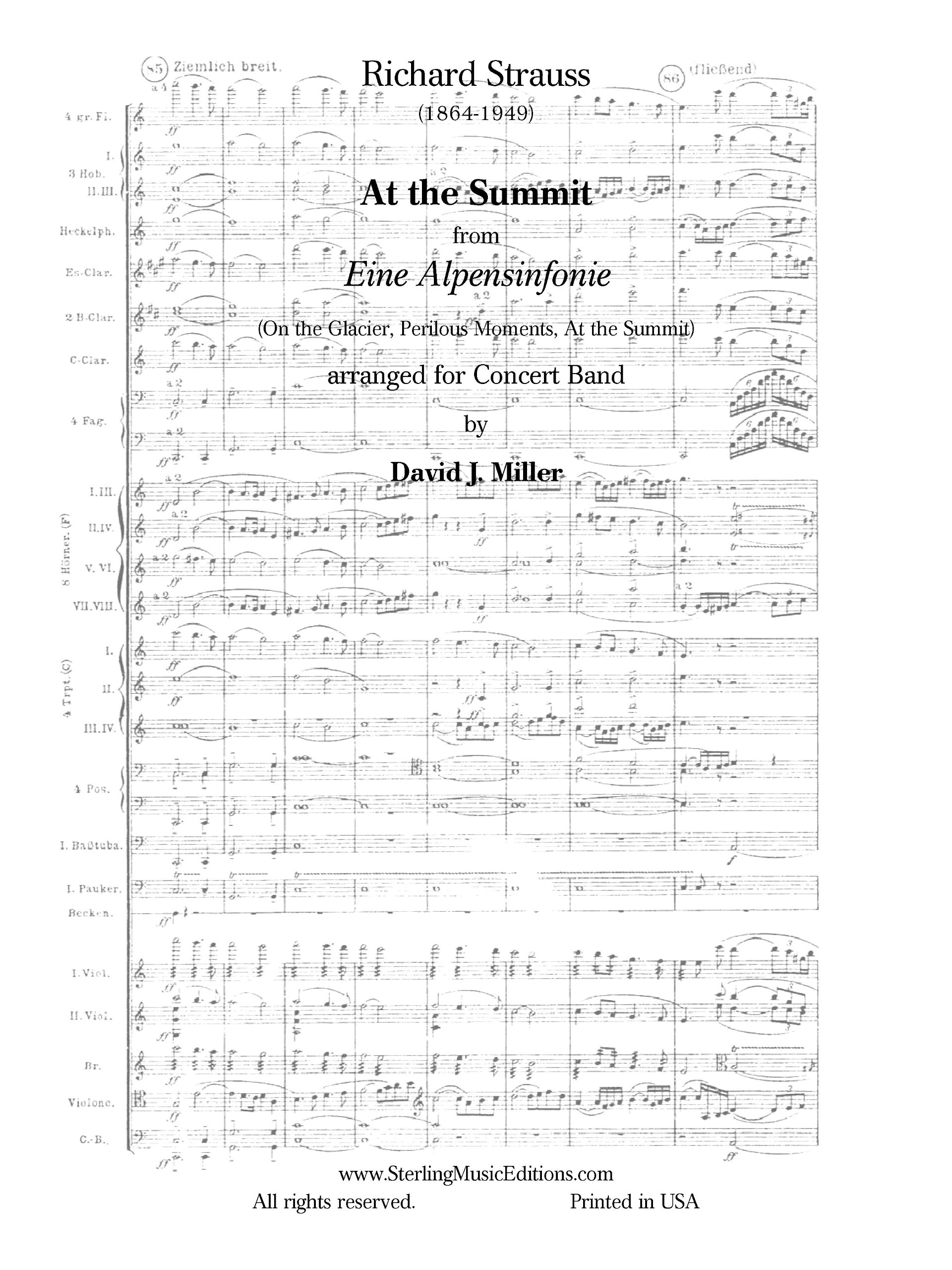 Download At the Summit, from Eine Alpensinfonie, TrV 233: Score and Parts pdf