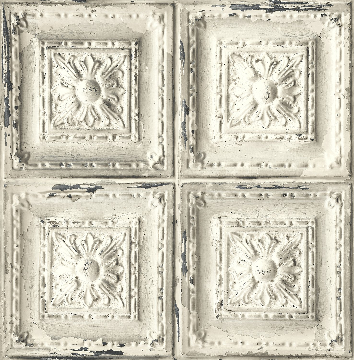 Distressed Ceiling Tile Wallpaper. (White & Grey)