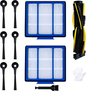 BBT BAMBOOST Replacement Parts Compatible with Shark IQ R101AE (RV1001AE),Accessories Kit for IQ R101 (RV1001) Robot Vacuum Cleaner,2 Pack HEPA Filters & 6 Side Brushes & 1 Main Roller Brush