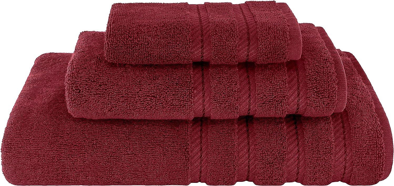American Soft Linen 3 Piece, Turkish Cotton Premium & Luxury Towels Bathroom Sets, 1 Bath Towel 27x54 inch, 1 Hand Towel 16x28 inch & 1 Washcloth 13x13 inch [Worth $36.95] Burgundy Red