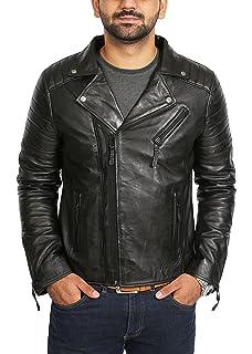 Mens Leather Jacket Slim Fit Biker Motorcycle Genuine Lambskin Jacket Coat T1473