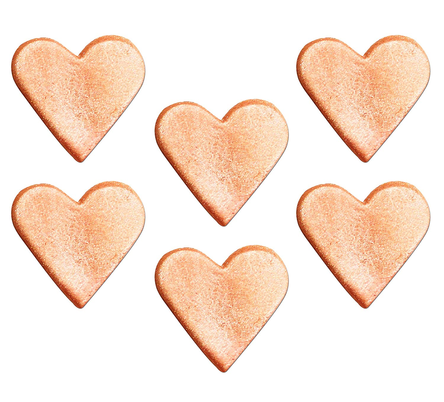 GiftRush Rose Gold Shimmering Hearts Sugar Decorations Cake Decorations 6 Pack