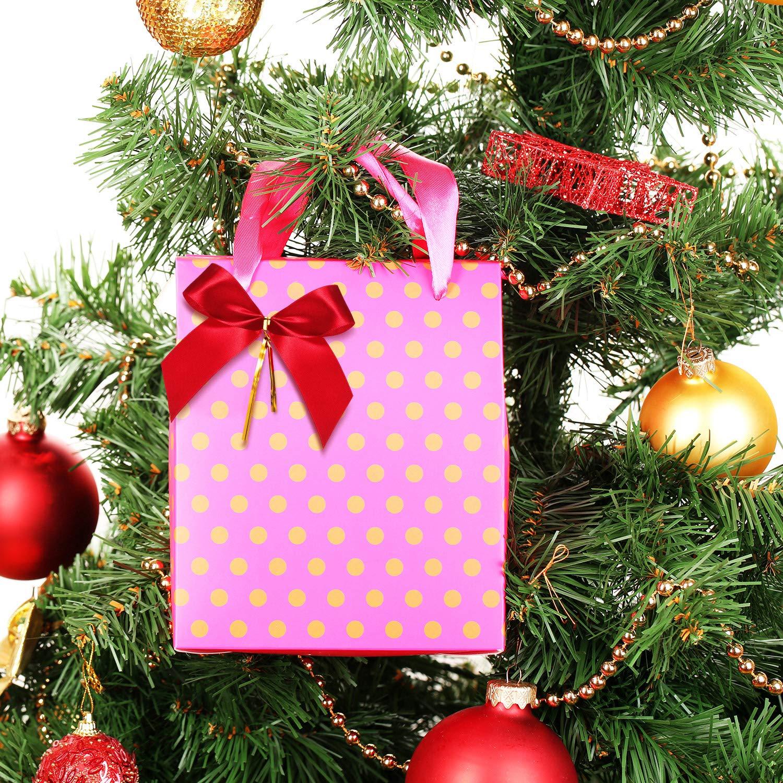D/écoration de Cadeau de No/ël 48 Pi/èces Arc de No/ël Ruban Rouge Noeud pour Sapin de No/ël Guirlande de No/ël 3 Tailles Assorties