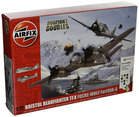 Airfix Bristol Beaufighter Mk X vs Focke-Wulf FW190A-8 Dogfight Double Plastic Model Gift Set (1:72 Scale)