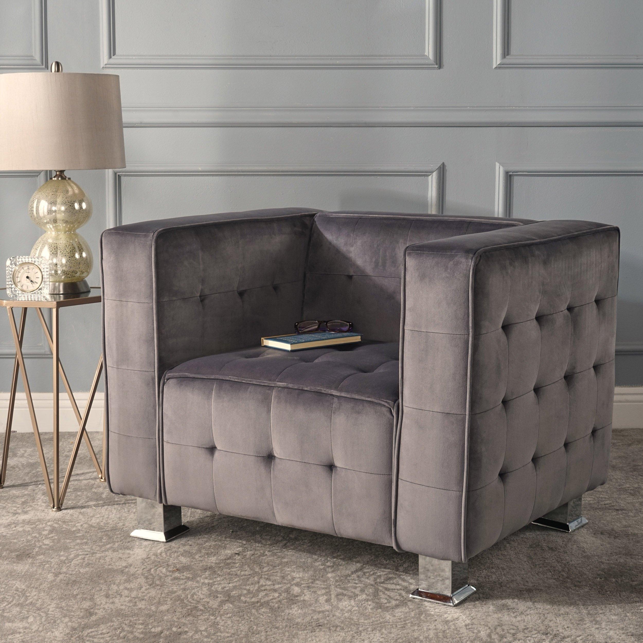 Admirable Details About Modern Contemporary Grey Velvet Art Deco Chair Tufted Cube Armchair Chrome Legs Machost Co Dining Chair Design Ideas Machostcouk