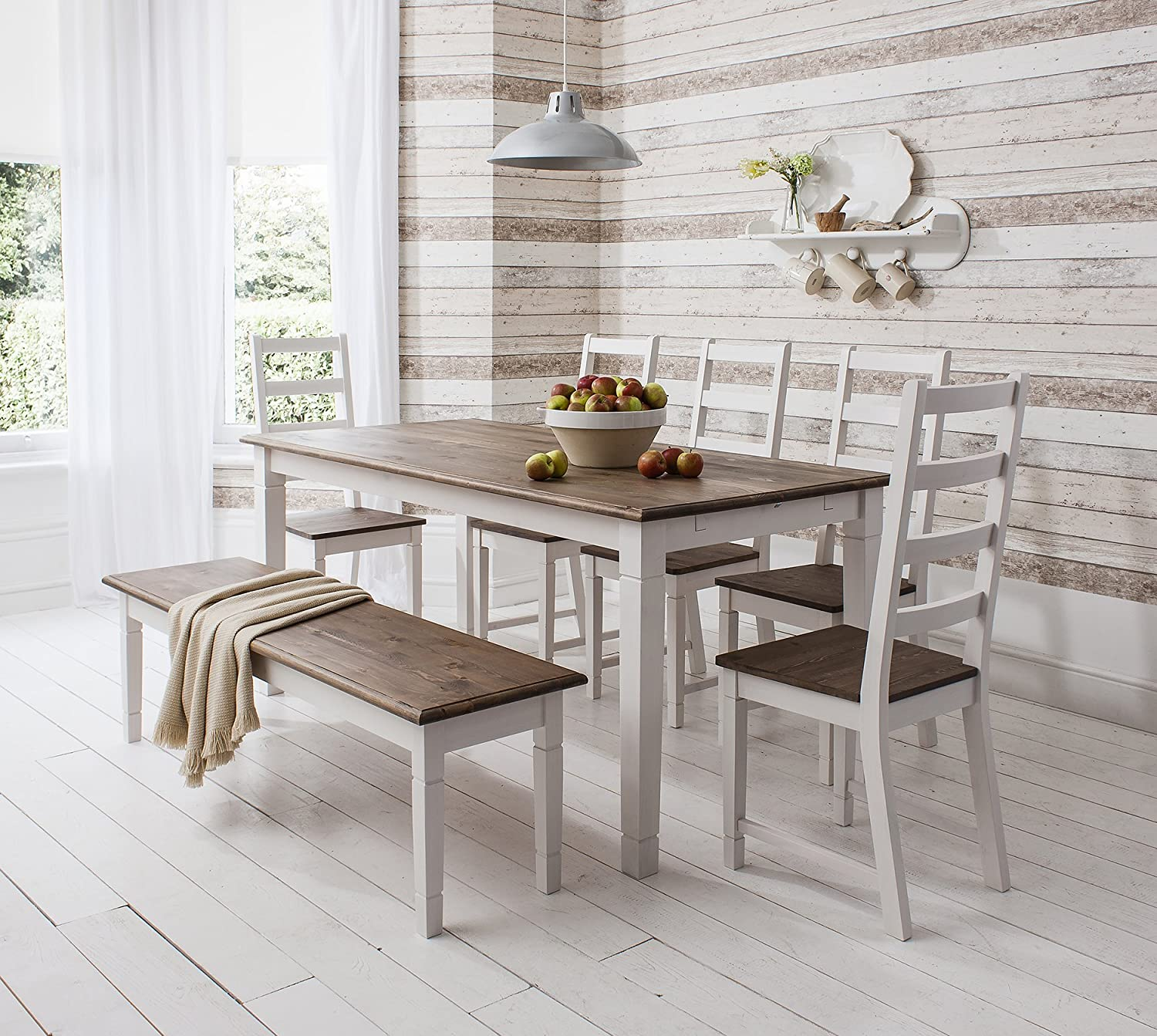 Table And 4 Chairs Bench Canterbury Dining In Contemporary Dark Pine White Amazoncouk Kitchen Home