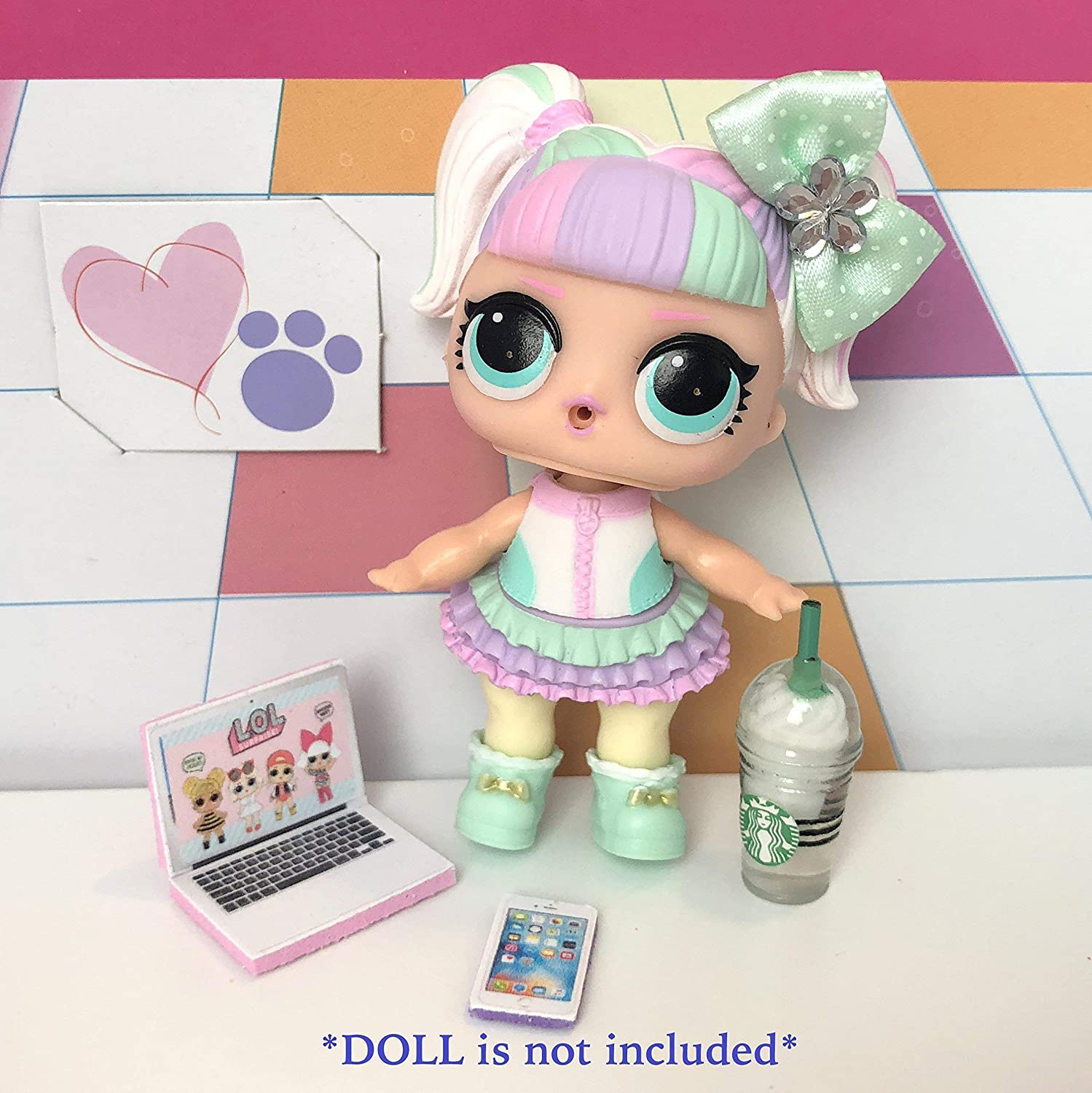LOL Accessories 4PC Lot Starbucks Laptop Phone Bow DOLL NOT INCLUDED …
