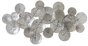 Falc Wandobjekt Aus Metall Wanddekoration Silber 135x67 Cm