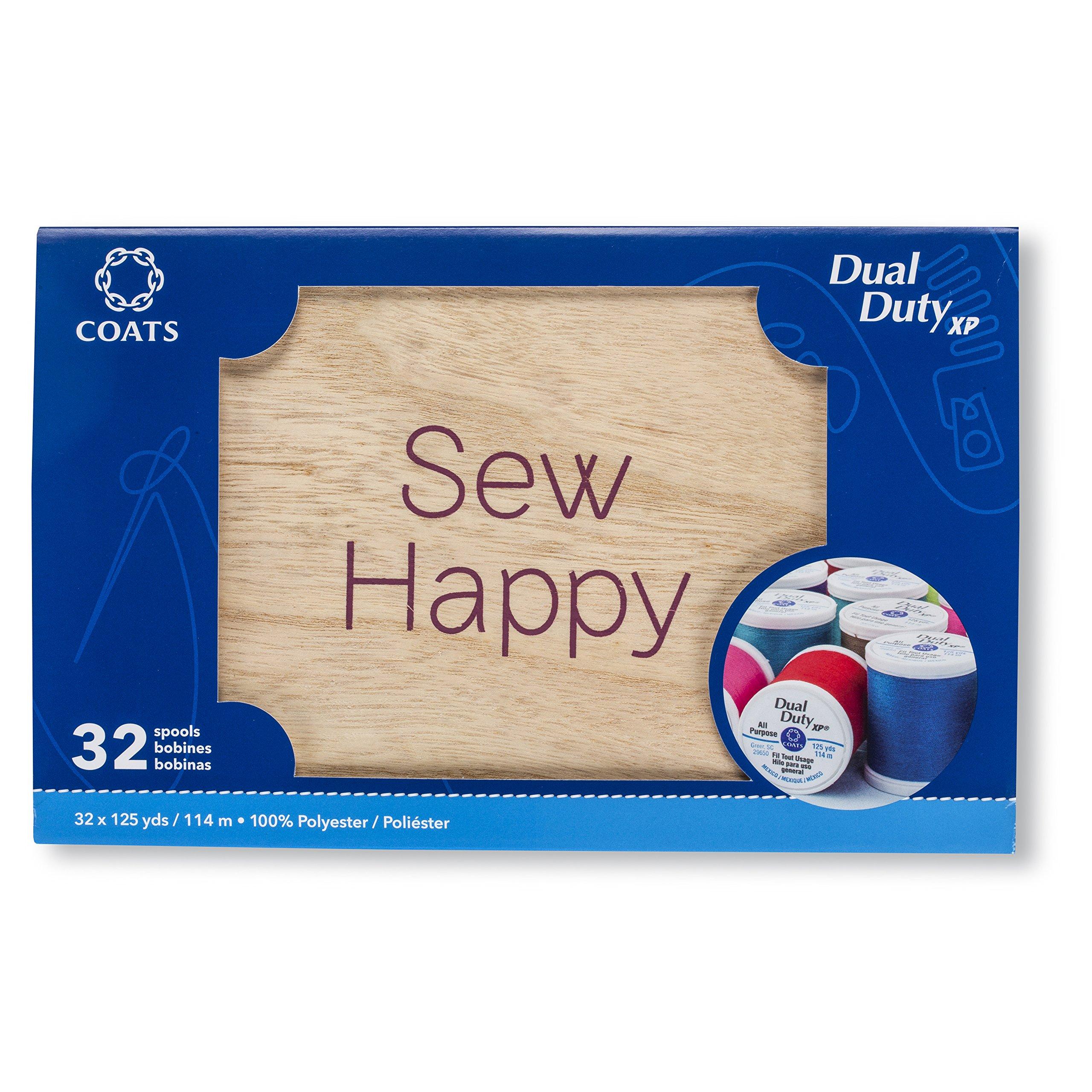 Coats 32 Spool Wooden Box Assortment Thread,