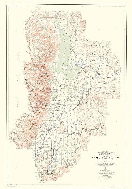 Amazon.com: Topographical Map - Grand Teton National Park Wyoming ...