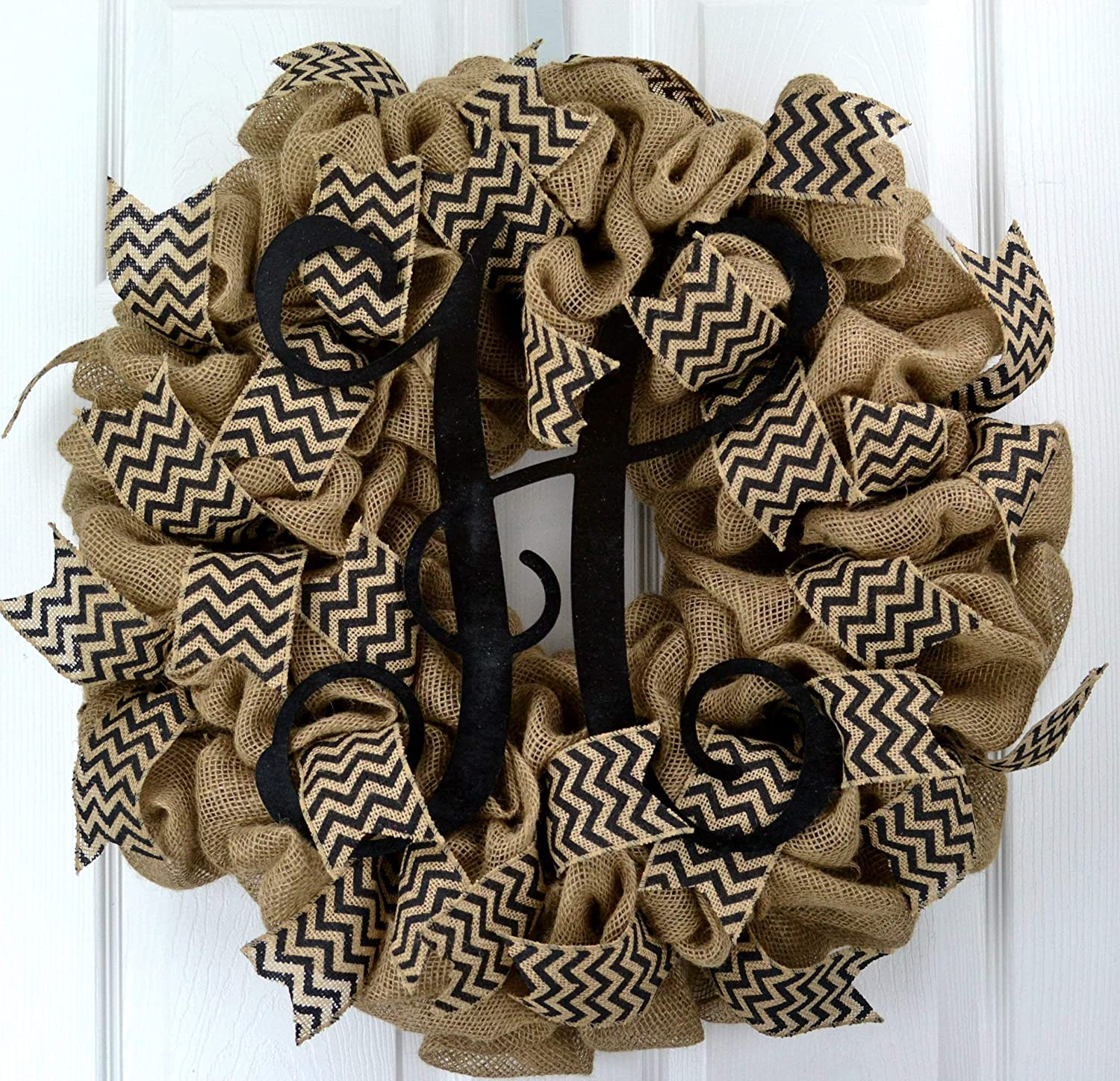 Personalized initial burlap wreath with animal print.