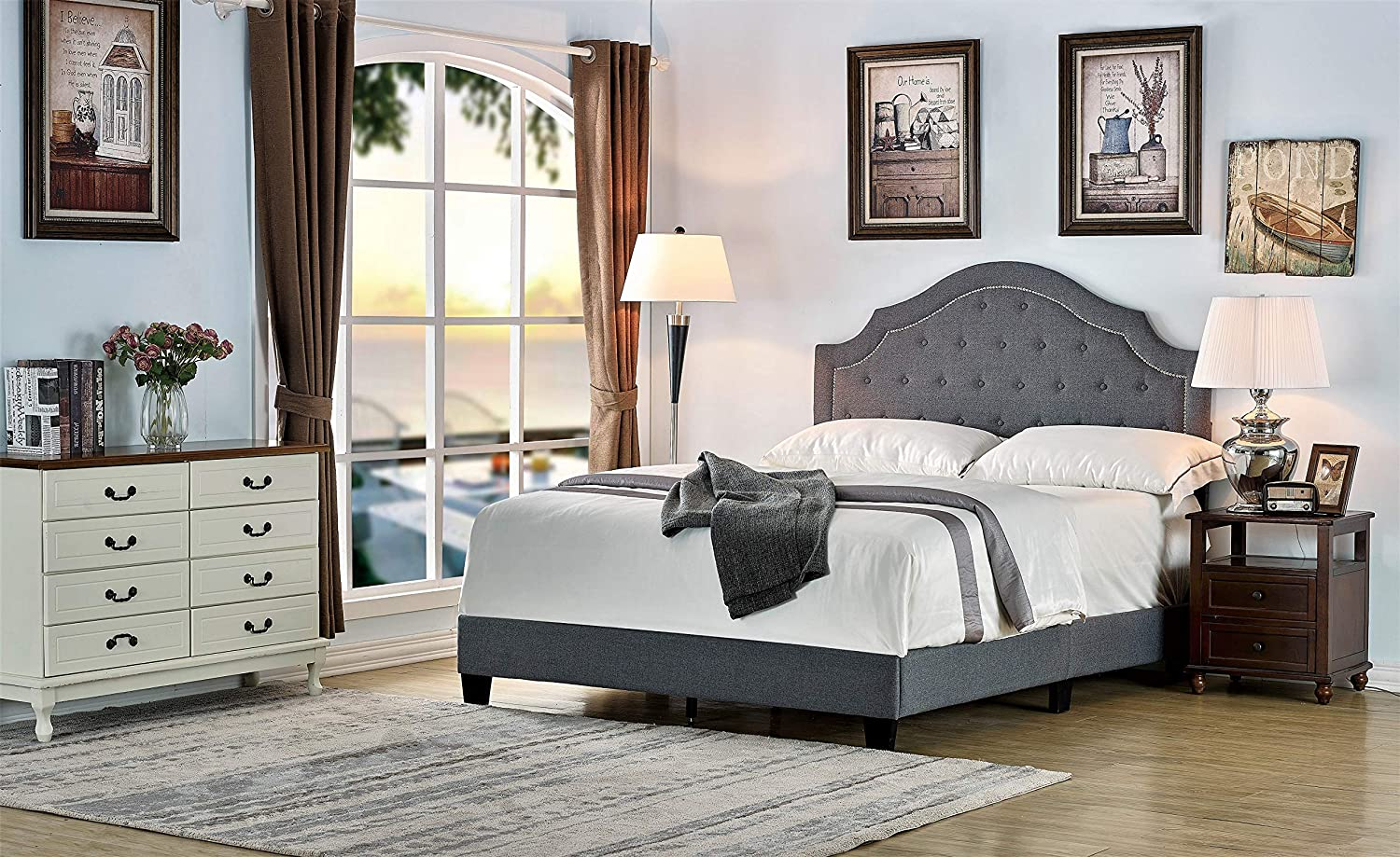Container Furniture Direct Sklar Ultra Modern Button Tufted Upholstered Panel Bed, 82.70 , Queen, Grey