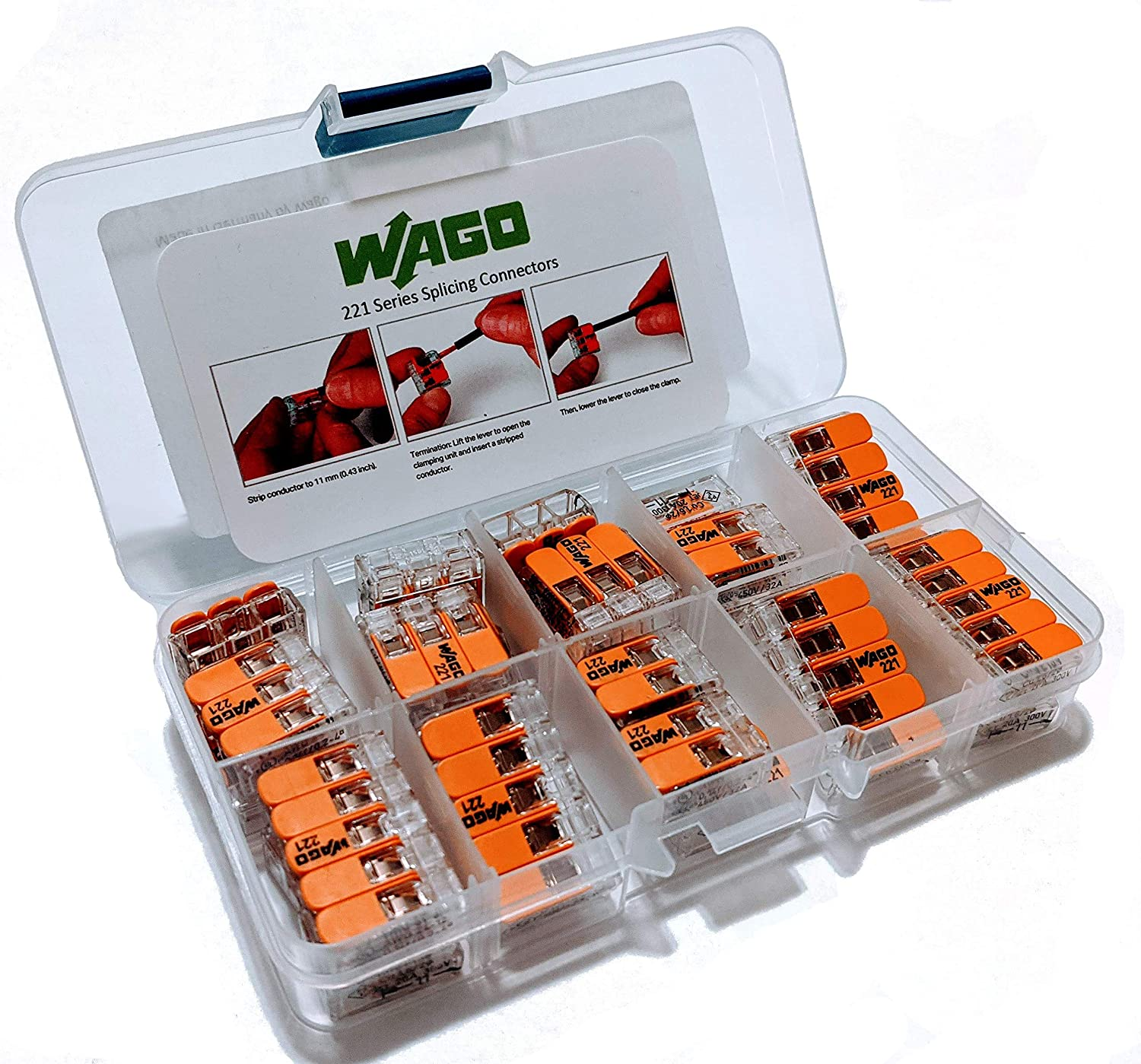 WAGO 221 Series Splicing Connectors with Case 25pc Compact Splicing Wire Connectors. Comes with (10) 221-412, (10) 221-413, (5) 221-415