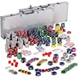 Maxstore Ultimate Pokerset mit 1000 hochwertigen 12 Gramm METALLKERN Laserchips, inkl. 2x Pokerdecks, Alu Pokerkoffer, 5x Würfel, 1x Dealer Button, Poker, Set, Pokerchips, Koffer, Jetons