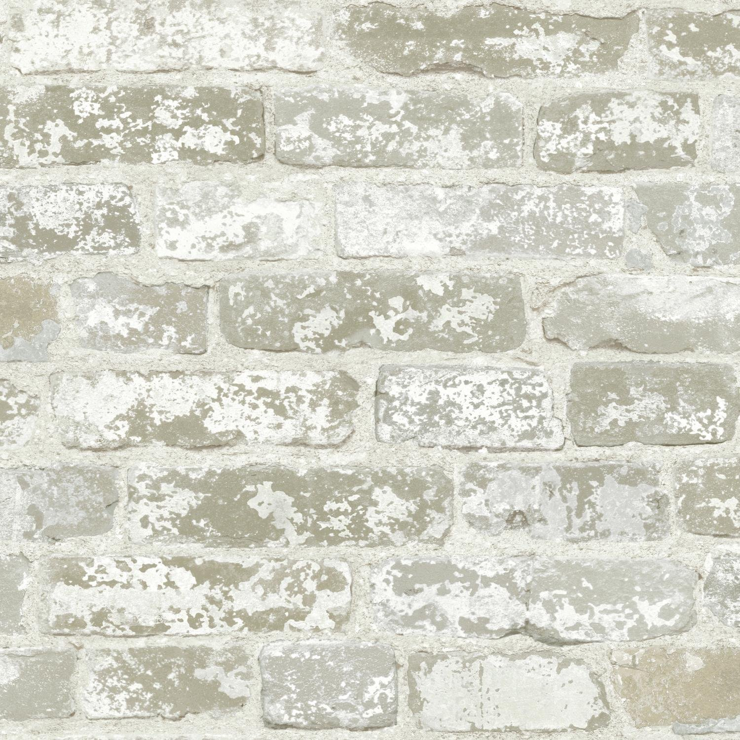 York Wallcoverings White Brick Prepasted Removable Wallpaper