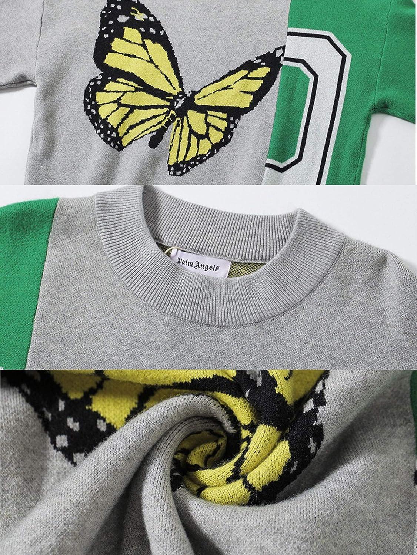 CFLL Herren Palm Engels Sweatshirt Pullover Hooded, Sweatshirt Herren Engeles Palme Rundhals-Pullover, Grüne Ärmel mit großem Schmetterlingsmuster M