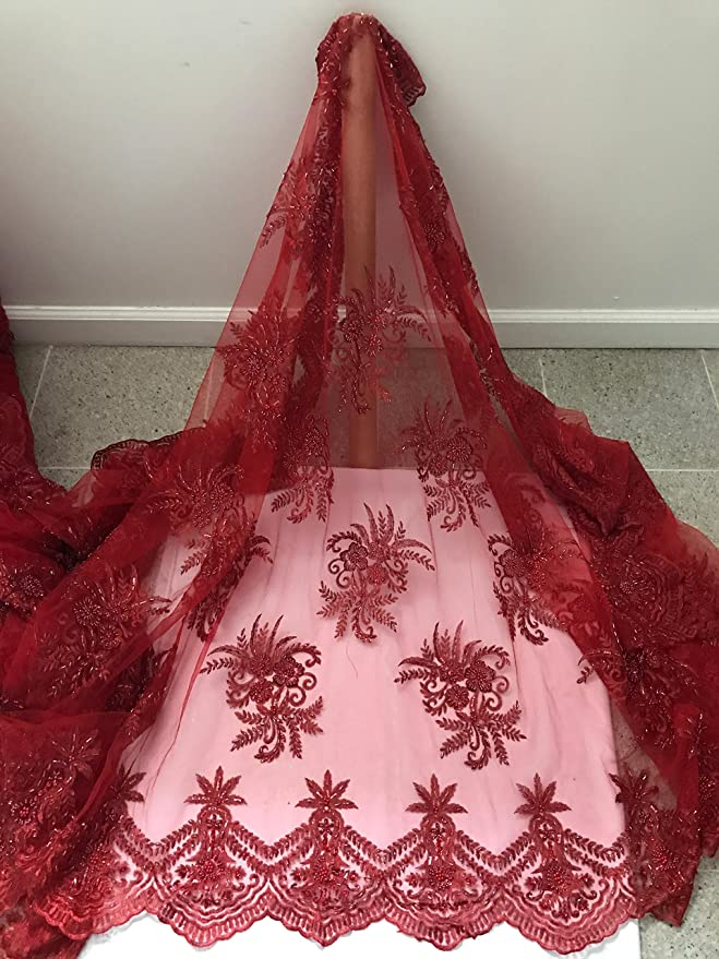 Embroidery on Polyester Mesh Wedding Dress Red By The Yard Beaded Fabric
