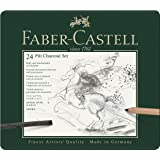 Faber-Castell PITT Charcoal Professional Quality 24-Piece Set of Natural Drawing Charcoal Sticks and Charcoal Pencils in a Range of Hardness