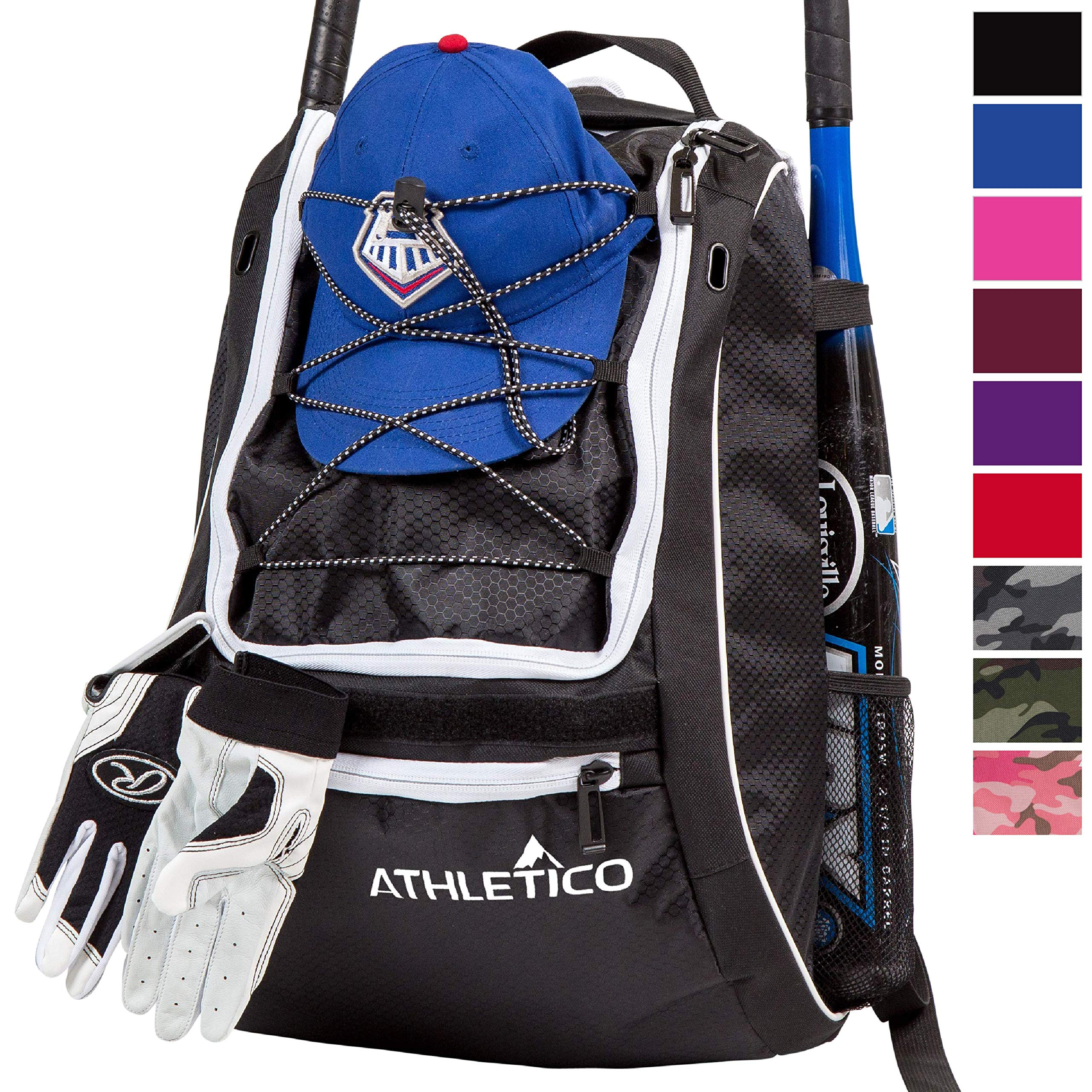 Athletico Baseball Bat Bag - Backpack for Baseball, T-Ball & Softball Equipment & Gear for Youth and Adults | Holds Bat, Helmet, Glove, Shoes | Separate Shoe Compartment, Fence Hook (Black) by Athletico