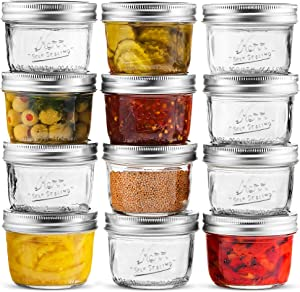 Wide Mouth Mason Jar 8 oz [12 Pack] Kerr Wide Mouth Mason Jars With Airtight lids and Bands - For Canning, Fermenting, Pickling, Freezing - Glass jar, Microwave & Dishwasher Safe. + SEWANTA Jar Opener