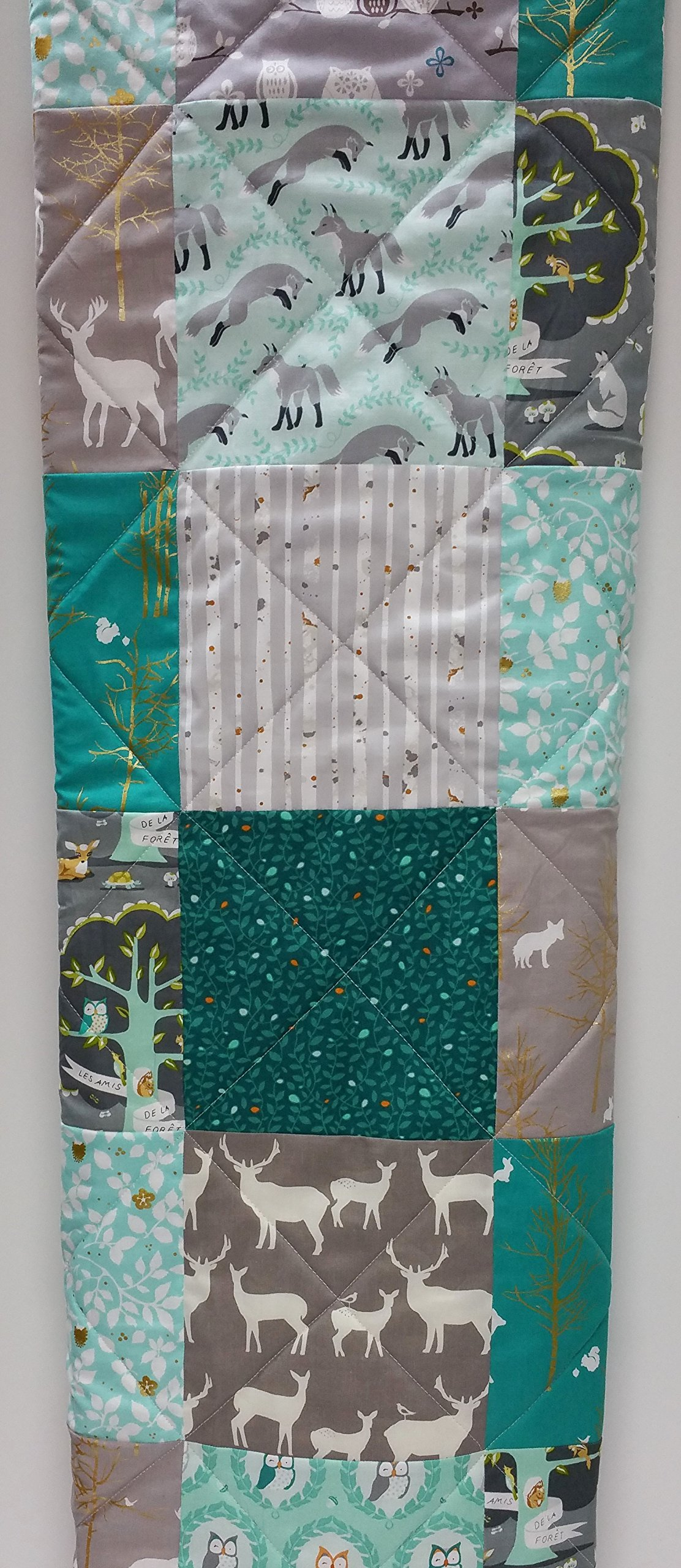 Teal, Aqua, and Gray Rustic Woodland Baby Quilt