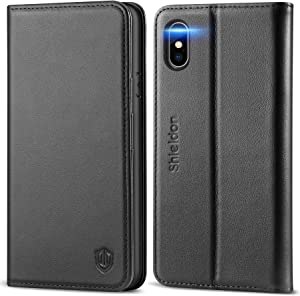 SHIELDON iPhone Xs Case, Genuine Leather iPhone Xs Wallet Folio Case with Auto Sleep Wake Function, Magnetic Closure, RFID Blocking Card Slots, Soft Back Cover Compatible with iPhone Xs (2018) - Black