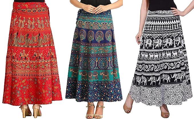 9a3c82e384 MRV MACY FASHION Women's Cotton Pack Of 3 Long Skirts (MRV MACY ...