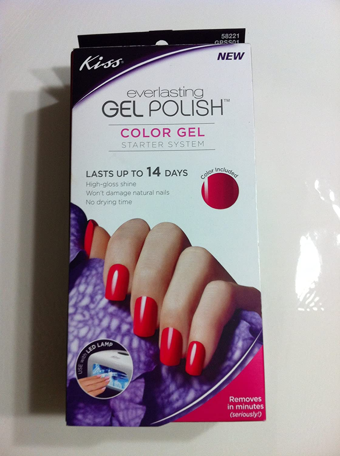 Amazon.com : New KISS Everlasting GEL POLISH STARTER SYSTEM (red ...