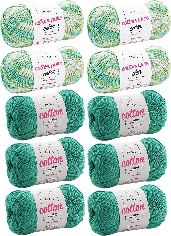 MyOma W0MY-C-MIX-03-06 - Ovillo de lana (10 ovillos, algodón ...