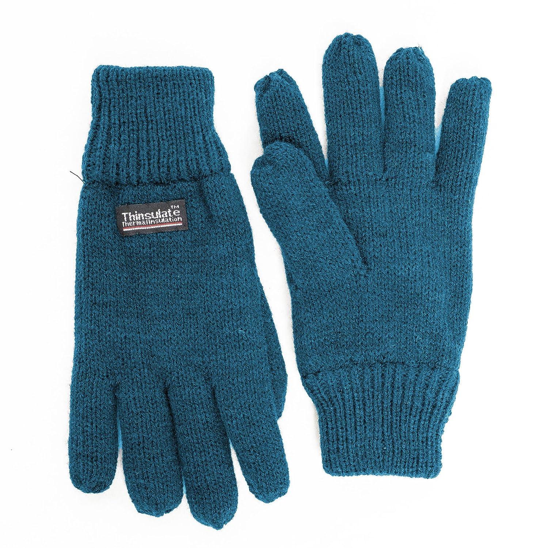 SANREMO Unisex Kids Knitted Fleece Lined Warm Winter Gloves