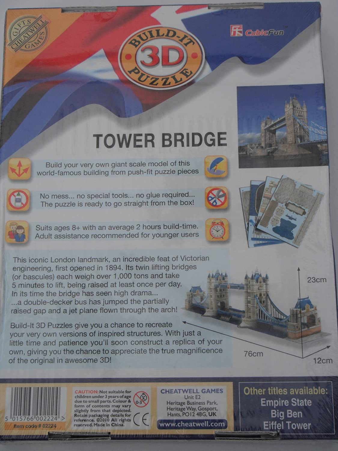 Amazon.com: LONDON TOWER BRIDGE 120 PIECES BUILD-IT 3D PUZZLE (2010) by Cubic Fun Series: Toys & Games