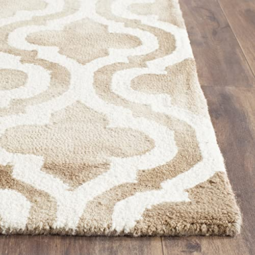Safavieh Dip Dye Collection DDY537G Handmade Geometric Moroccan Watercolor Beige and Ivory Wool Area Rug 2 x 3