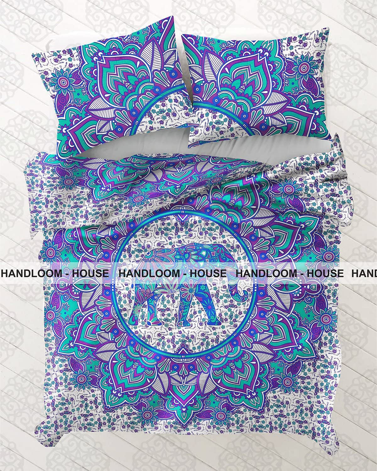 Indian Boho Duvet Doona Cover White Blue Mandala Hippie Bohemian Quilt Cover