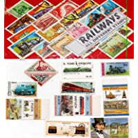 GOLD MINT 25 Different Railways Locomotive Trains World Stamps