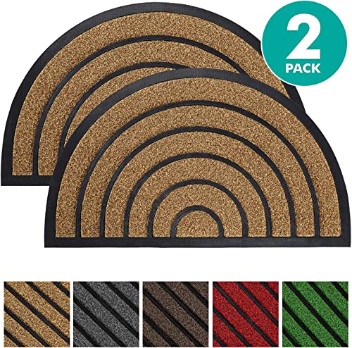 Olanly 2-Pack Durable Half Circle Striped Door Mat Outdoors, Heavy Duty Doormat, Easy Clean, Low-Profile Mats for Entry, Garage, Patio, High Traffic Areas, 35X23, Striped Round Brown