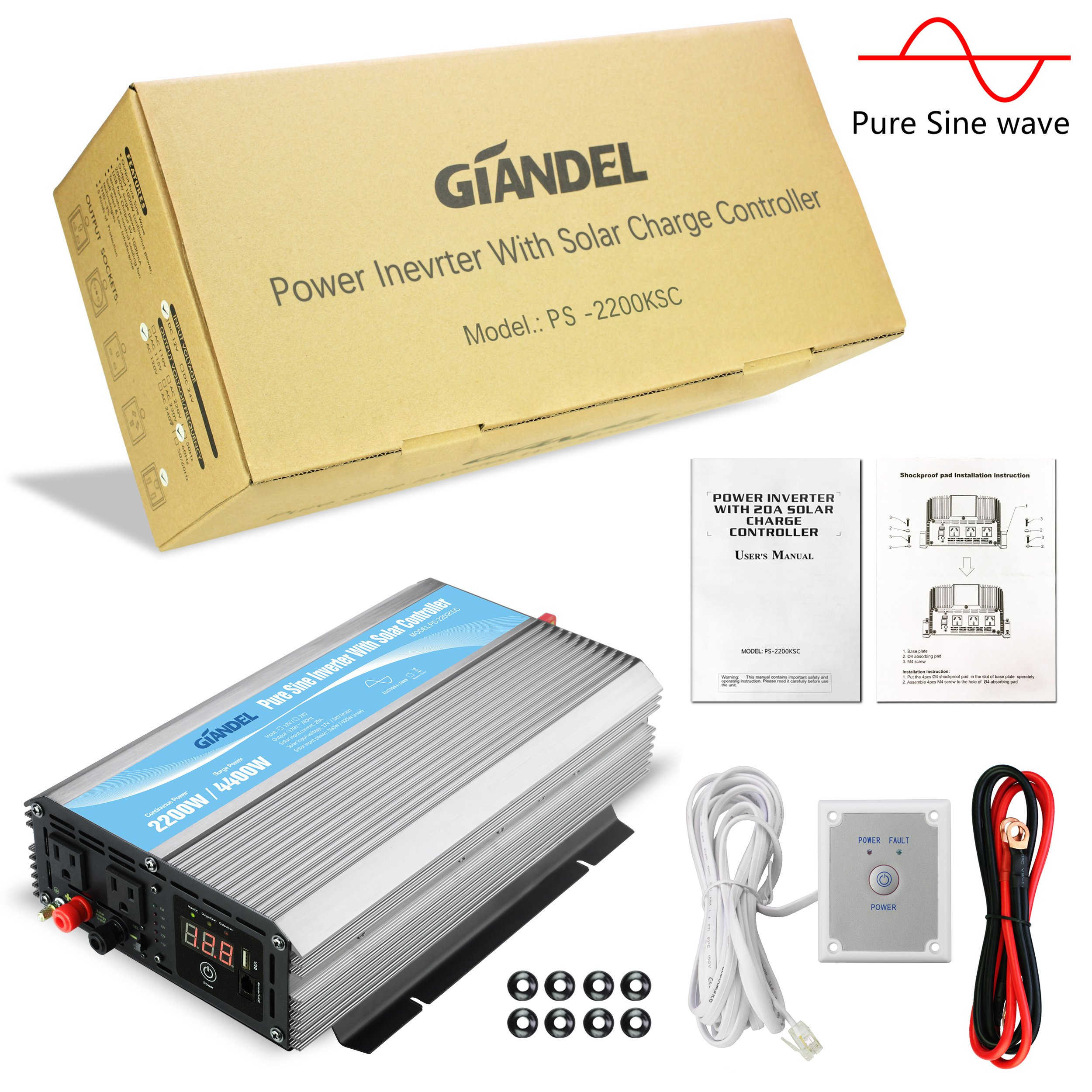 Giandel 2200W Pure Sine Wave Power Inverter 12V DC to 120V AC with 20A Solar Charge Control and Remote Control&LED Display and Dual AC Outlets &1x2.4A USB Port for RV Truck Car Solar System by Giandel (Image #6)
