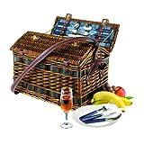 Picknickkorb Summertime für 4 Personen Gewicht 3800 Gramm innen mit Befestigungsgurt