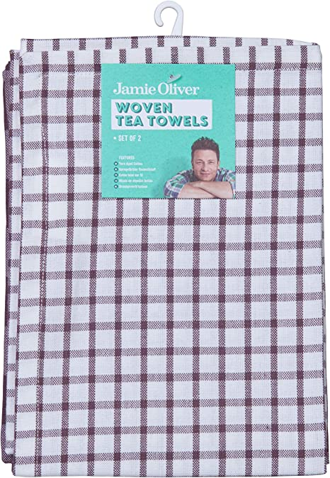 Jamie Oliver Geschirrtücher-Set 2-tlg Geschirrtuch Dunkelgrau Kariert 70x50cm