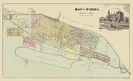 Amazon Com Old City Map Winona Minnesota Andreas 1874 23 X