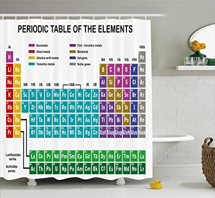 Amazon ambesonne periodic table shower curtain educational ambesonne periodic table shower curtain educational artwork for classroom science lab chemistry club camp kids urtaz Gallery
