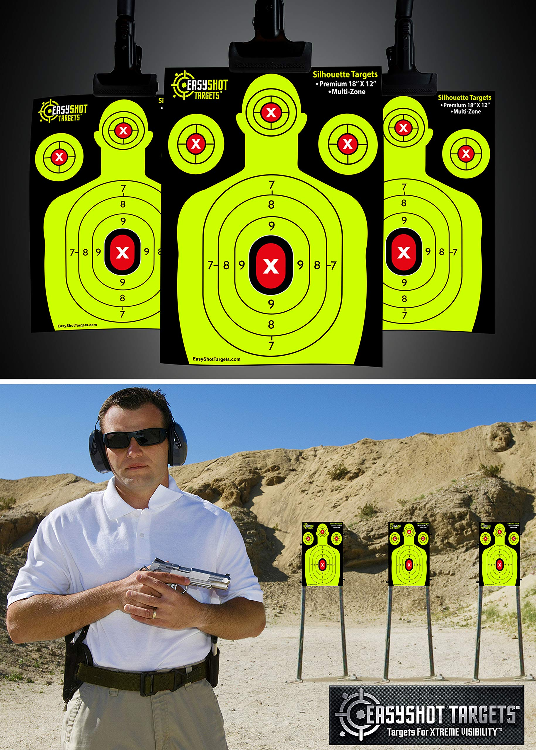 EASYSHOT Shooting Targets 18 X 12 inch. Shots are Easy to See with Our High-Vis Neon Yellow & Red Colors. Thick Silhouette Paper Sheets for Pistols, Rifles, BB Guns, Airsoft, Pellet Guns & More. by EasyShot Targets (Image #4)