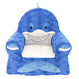 Animal Adventure Sweet Seats | Blue Shark Children's Chair | Large Size | Machine Washable Cover