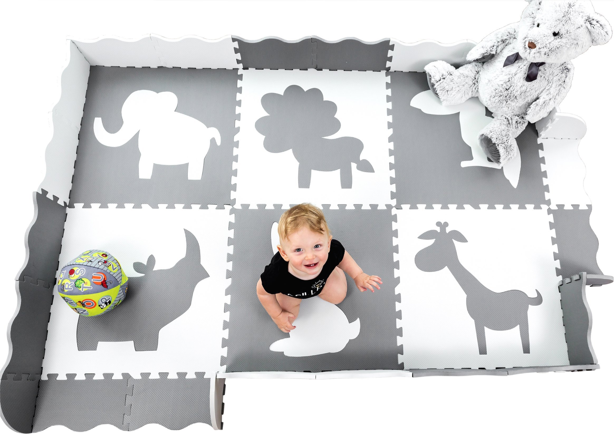 Large (5x7') Baby Play Mat with Interlocking Foam Floor Tiles. Neutral, Non Toxic Baby Playmat for Nursery, Playroom or Living Room (Grey and White) by Wee Giggles (Image #1)