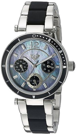 e381db78078b Roxy RX para mujer 1004JMSV THE MANHATTAN plata-tono y negro reloj pulsera  de