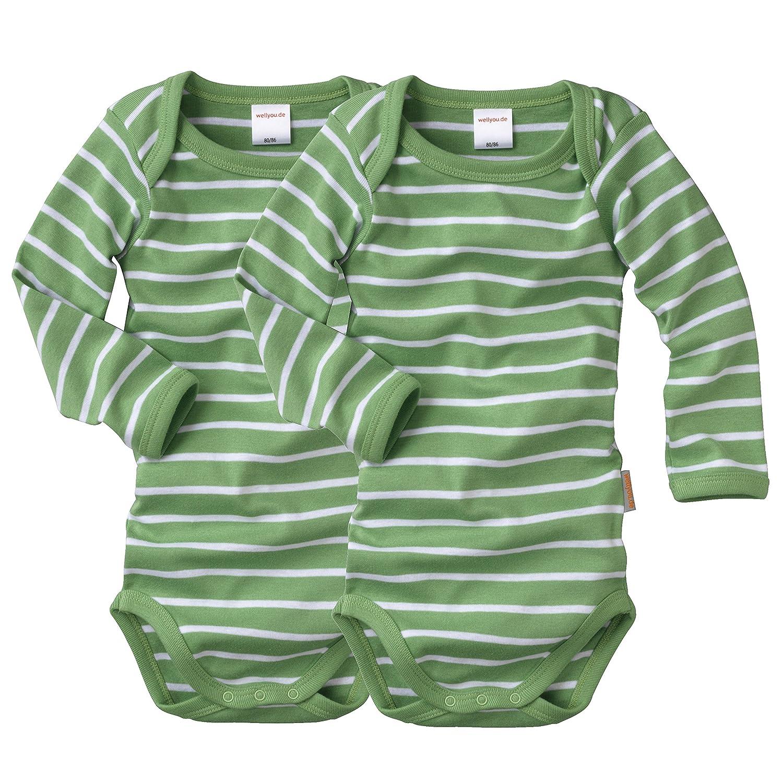 Wellyou lot de 2 body manches longues pour bébé-vert/blanc/rayures