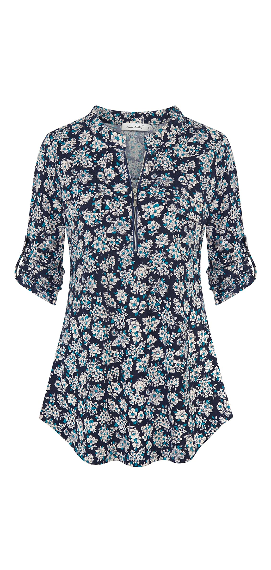 Women's / Sleeve Roll Up Shirts Zip Floral Casual