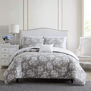 Stone Cottage | Katherine Collection | Comforter Set - Ultra-Soft 100% Cotton Fabric - Reversible, Soft, and Breathable, King, Grey