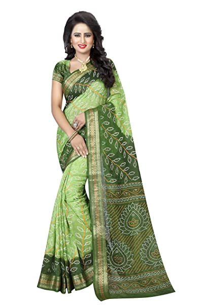 cc5daafc77 Dealsure Women's Art Silk Bandhani Saree (Green): Amazon.in: Clothing &  Accessories