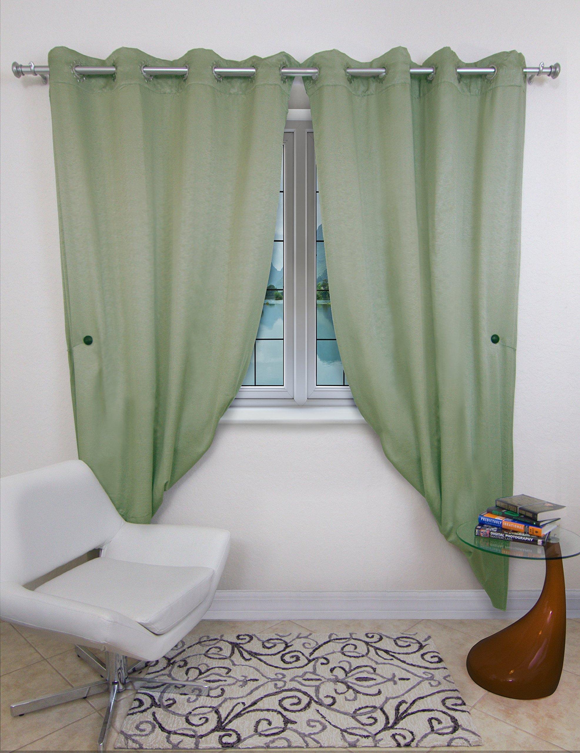 MagnaClips Set of 2 Magnetic Curtain Tiebacks or Holdbacks Wood Buckle Curtain Clips, Vela (White)